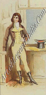 "Beau Brummel The foremost of the Regency beaux, Brummel in his heyday dictated London fashions. He despised all showy Clothes and was the first man to wear evening dress. His star declined after a celebrated clash with Prince George, when he asked the Regent's companion ""Who's your fat friend?"""