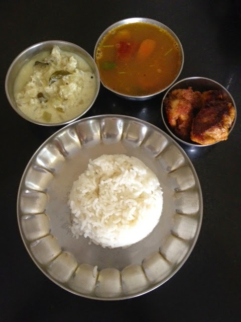south indian meals with parupu rasam