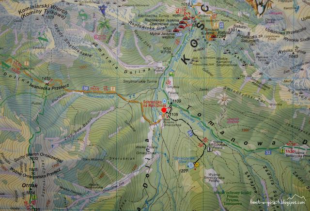 Schronisko PTTK na Hali Ornak na mapie