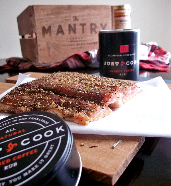 MANTRY- Modern Man's Pantry Subcription Box, Hand Picked Artisan Foods and Ingredients- Just Cook Herbed Coffee Rubbed Bacon