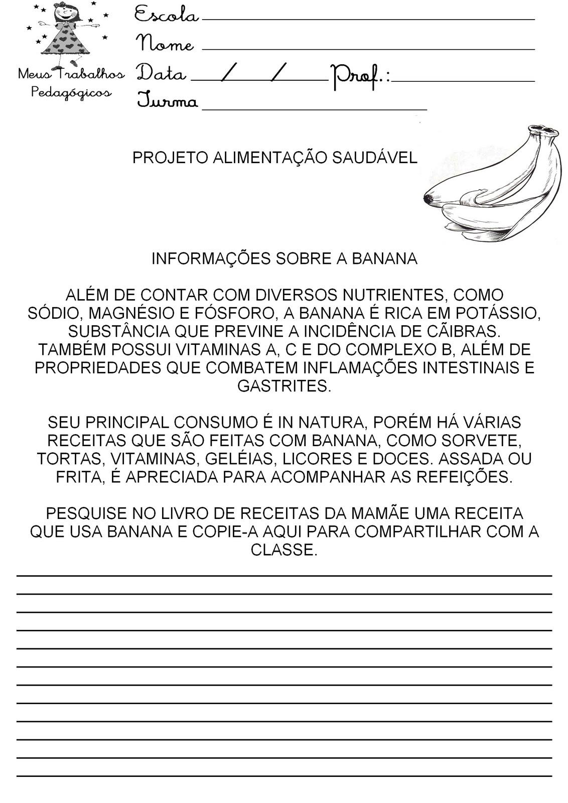 Excepcional Meus Trabalhos Pedagógicos ®: Atividades - Projeto Alimentação  PW79
