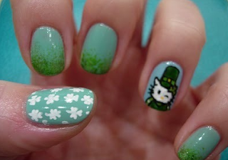 Hello Kitty Happy St Patrick's Day Irish nail art nails