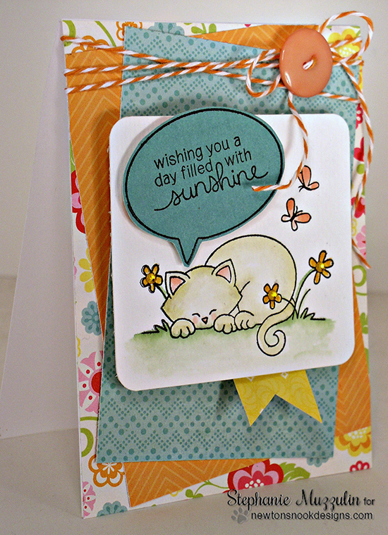 Cat Daydream Card by Stephanie Muzzulin for Newton's Nook Designs - Newton's Daydream Cat stamp set