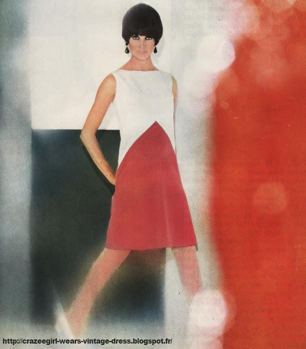 Geometric dress - 1965 En satin rouge et blanc robe princesse à peine évasée , à encolure droite . Pierre Billet chez Hermia Très stricte , robe droite lainage blanc. Seul le haut du corsage est marqué par des découpes . Epaules légèrement dégagées Robe droite en satin noir et blanc. Bande incrustée et chevrons bas de la jupe . Le Printemps vintage fashion années 60 60's 60s 1960 sixties mode graphic graphique geometrique