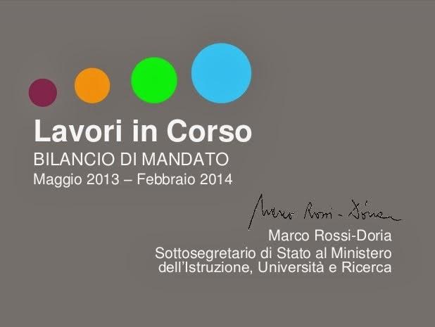Le attività istituzionali svolte dal Sottosegretario Marco Rossi-Doria 2013/14