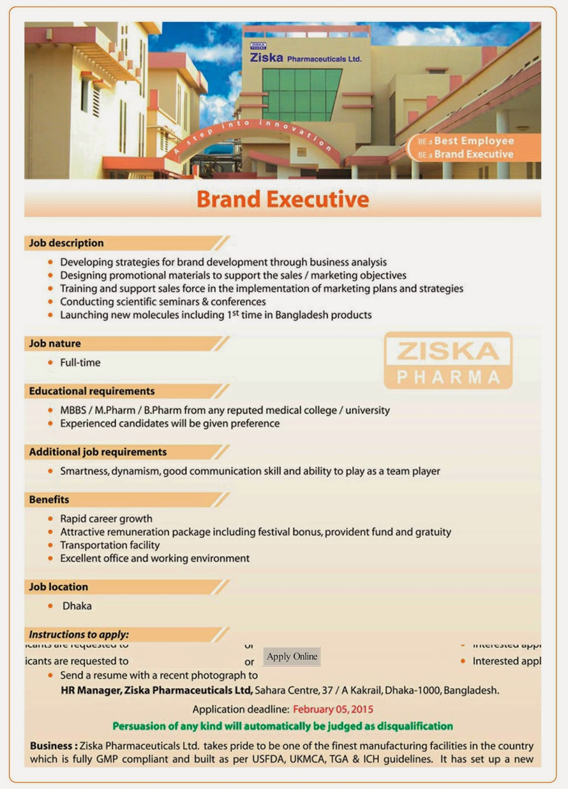 Brand Executive Current Pharmaceutical Jobs