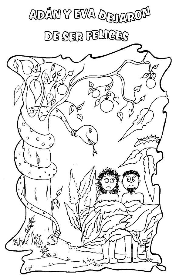 Dibujos de adan y eva en el jardin del eden para colorear imagui for Adan y eva en el jardin