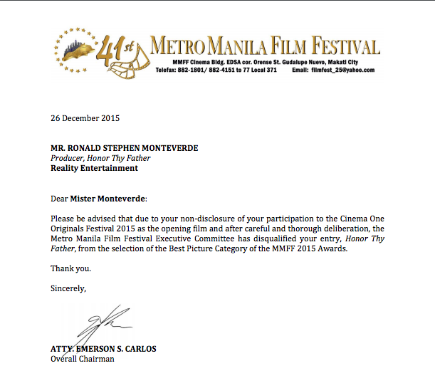 MMFF 2015 Honor thy Father