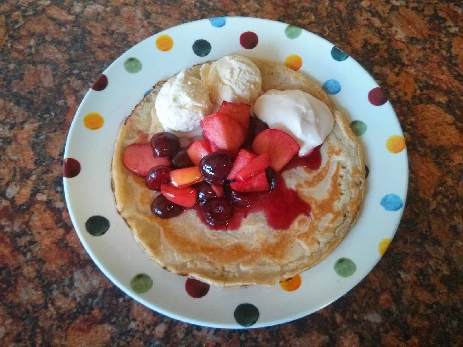 Lashings of Ginger Beer Pancake with Cherries, Apples and other English things