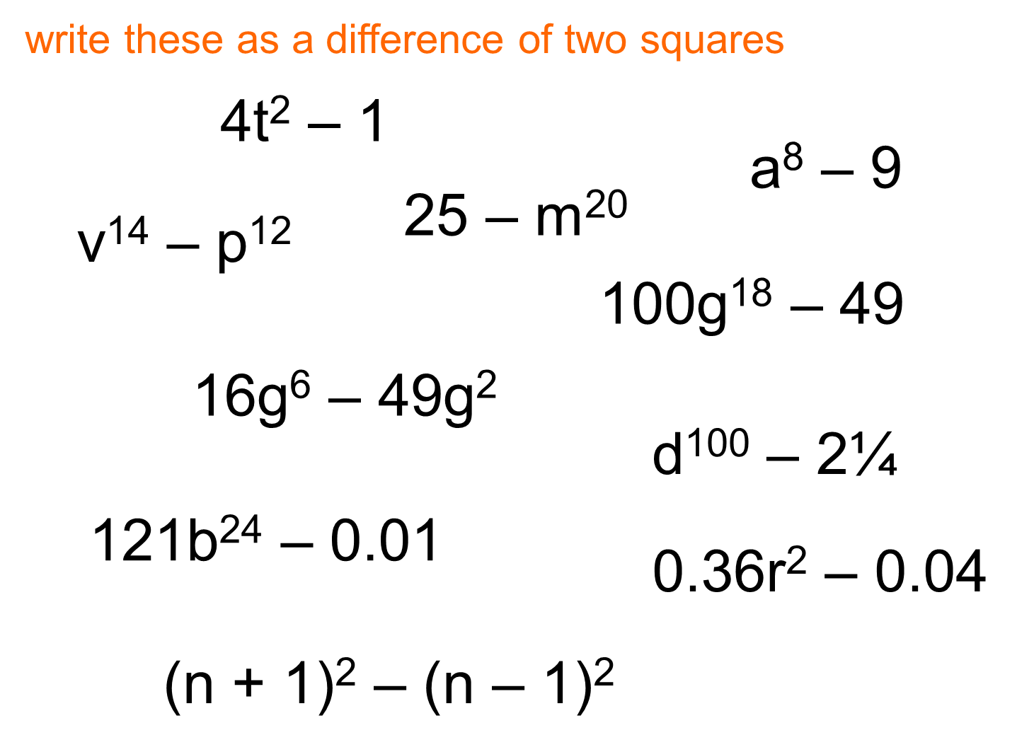 Free Worksheet Difference Of Two Squares Worksheet median don steward mathematics teaching difference of two squares ii