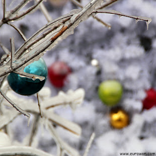 Bolas navideñas congeladas