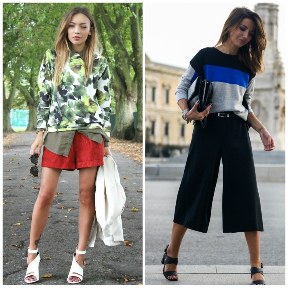 floral print jumper sweatshirt + khaki shirt + red suede shorts + white strappy heels - block stroped knit sweater + culottes + strappy heels - fashion blogger outfit fashion trend autumn fall 2014 street style