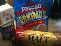 Eskimo lollies, malt biscuits