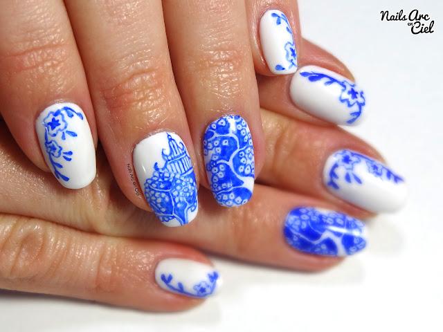 Nail art - Porcelaine Asiatique chinoise + mini concours par Nails Arc en Ciel