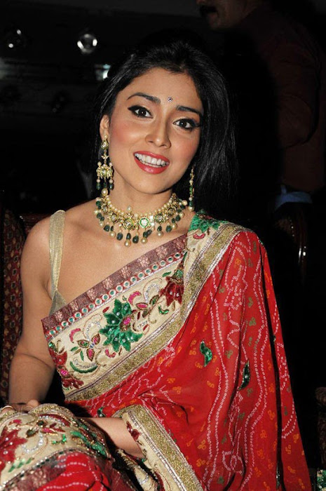 Shriya in a Golden Saree, Spicy Pictures of Shriya wedding vows magazine