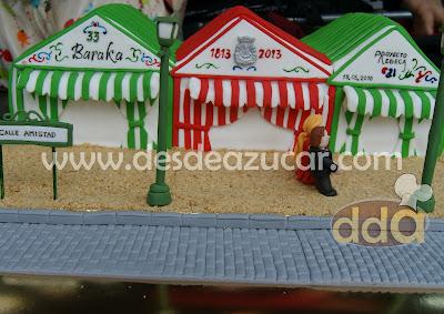 caseta de Feria, Feria, tarta, tarta fondant, tarta caseta de Feria, tarta fondant Sevilla, baraka, Hermandad del Rocio de Triana,