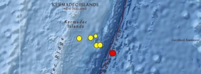 terremoto de magnitud 6.2 grados en la escala de Richter sacudió la región de las Islas Kermadec, Nueva Zelanda, el 3 de julio de 2014