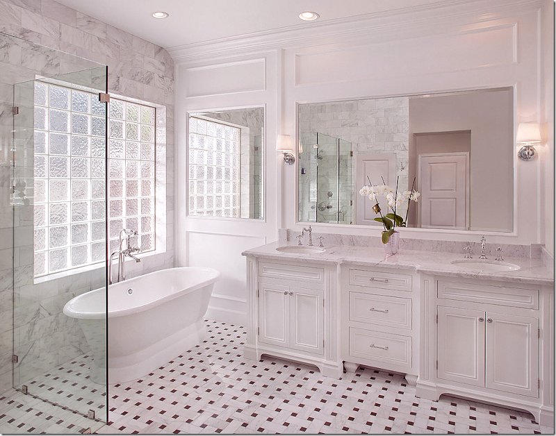 Antique style bathroom inspiration for Master bathroom marble tile