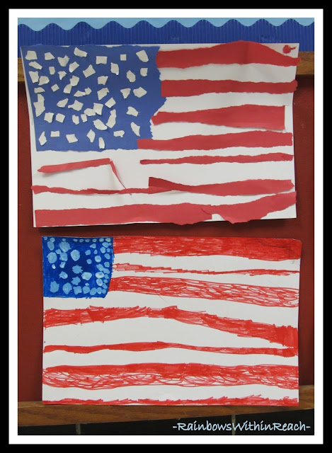 photo of: Kindergarten Created American Flags for Project Based Learning via RainbowsWithinReach