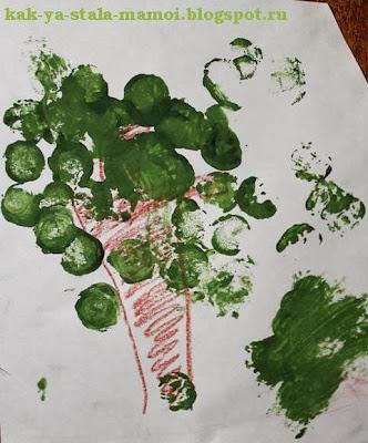 осеннее дерево с помощью пробки от вина, осеннее дерево, рисуем осеннее дерево, творчество с детьми,