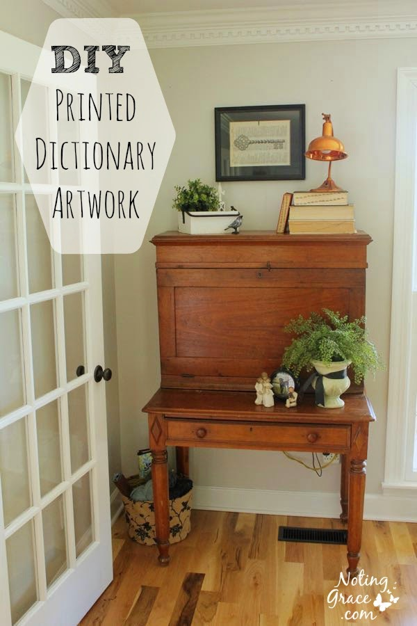 DIY Printed Dictionary Artwork. Create custom artwork for just pennies using what you have in your home!