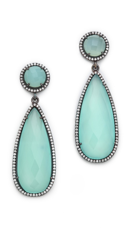 ONE by Susan Hanover Crown Double Drop Earrings Blue Opal Shopbop