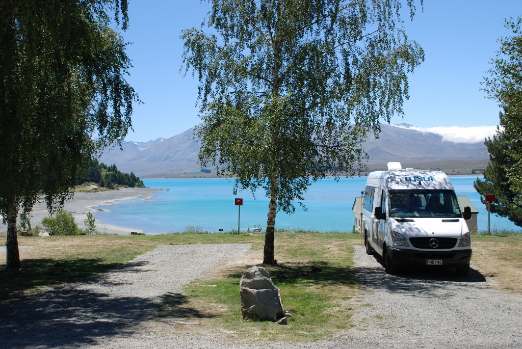 Rosie and the operator south island day 4 tekapo its Lake tekapo motor camp