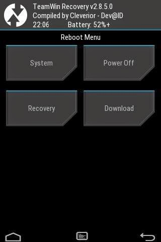 reboot menu twrp galaxy young gt-s6310