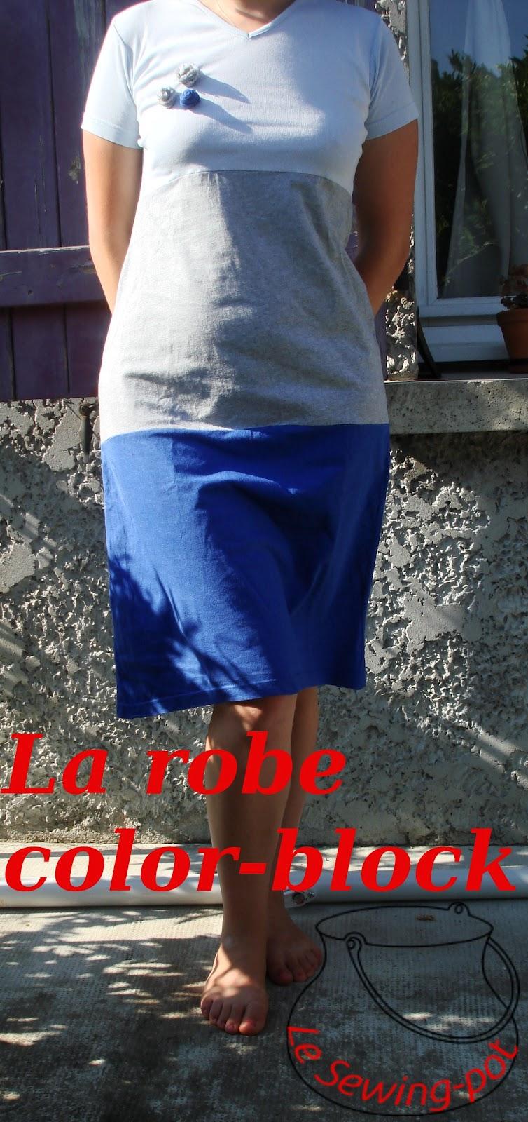 robe t-shirt color-block rosette