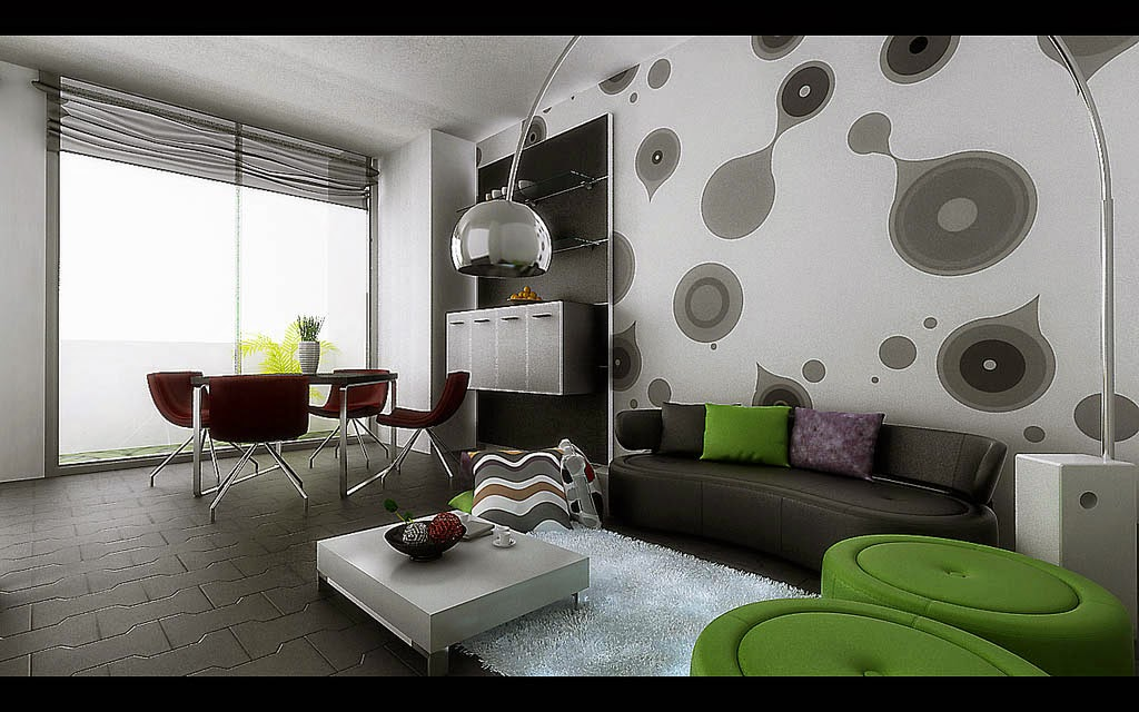 Contoh Wallpaper Ruang tamu Modern