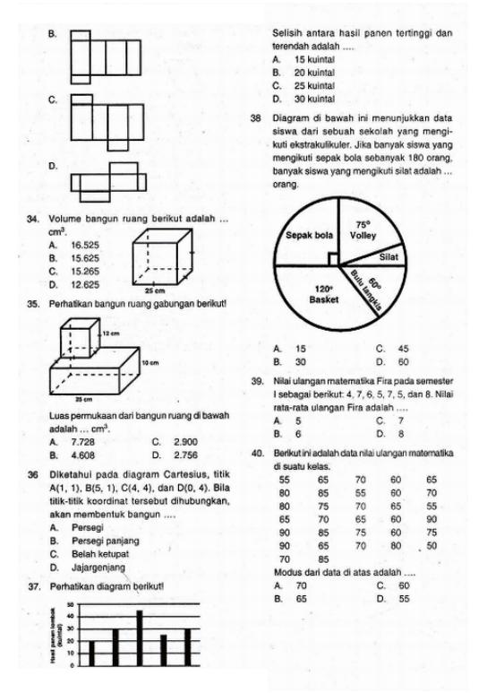 Prediksi UN US Matematika Kelas 6 SD UAS 2 dan Kunci Jawaban 2013-2014
