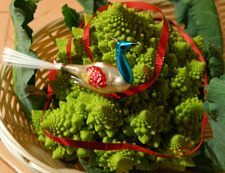 Green Cauliflower Tree Decorated with Bird and Ribbon