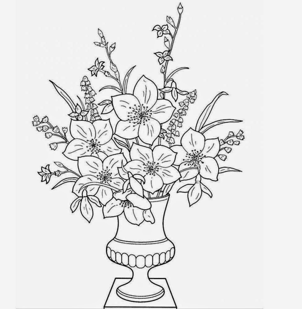 Flowers Vase Coloring Drawing Free wallpaper