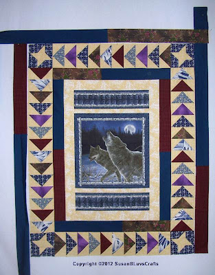 Howling Wolves Panel quilt top almost done