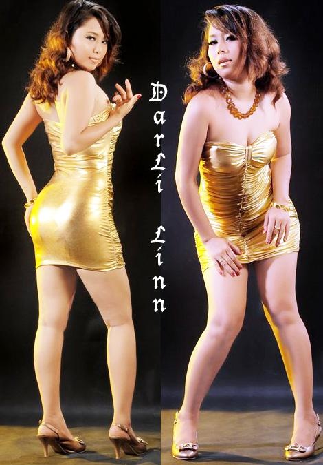 Dar Li Linn Photos in Golden Dress