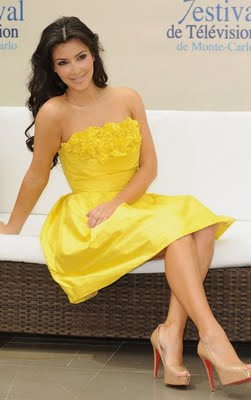 Kim Kardashian in yellow Dresses