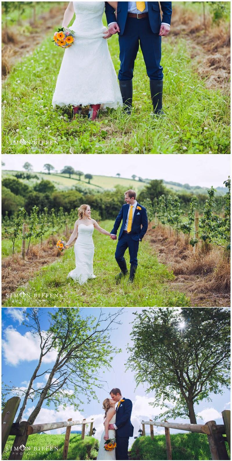 Bride and groom portraits Corn Barn Devon
