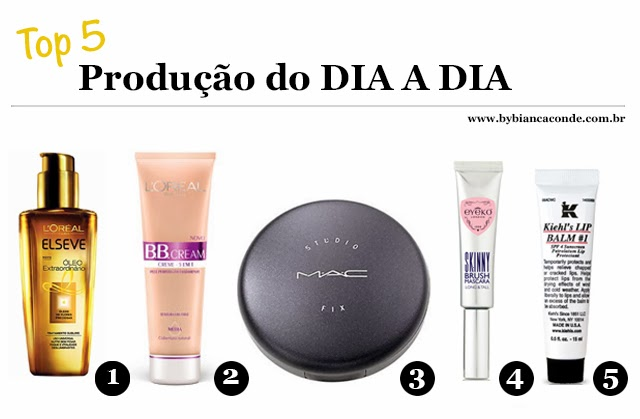 Top 5 Produção do Dia a Dia Óleo Extraordinário B.B. Cream / L'Oréal Pó Compacto Studio Fix / MAC Rímel / Eyeko Lip Balm #1 / Kiehl's