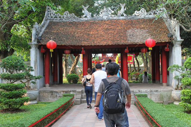 The first courtyard before heading to Second Courtyard of Temple of Literature in Hanoi, Vietnam