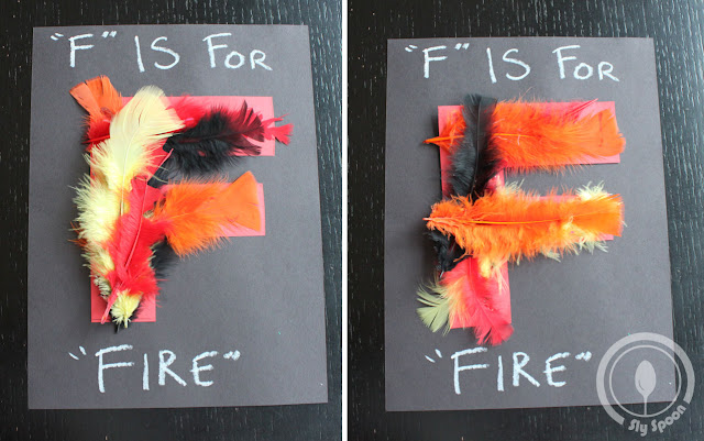 Toddler/Preshooler letter of the week craft F is for Fire with related craft, tracing sheets and fruits/vegetables.