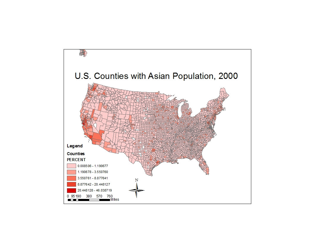 the map above is a map depicting united states counties with asian populations arranged by percentage in the original table most of the us counties with