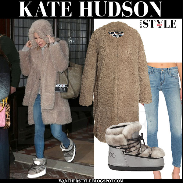 Kate Hudson in beige faux fur dawn levy tabitha coat, skinny jeans and fur moon boots jimmy choo buzz what she wore winter style