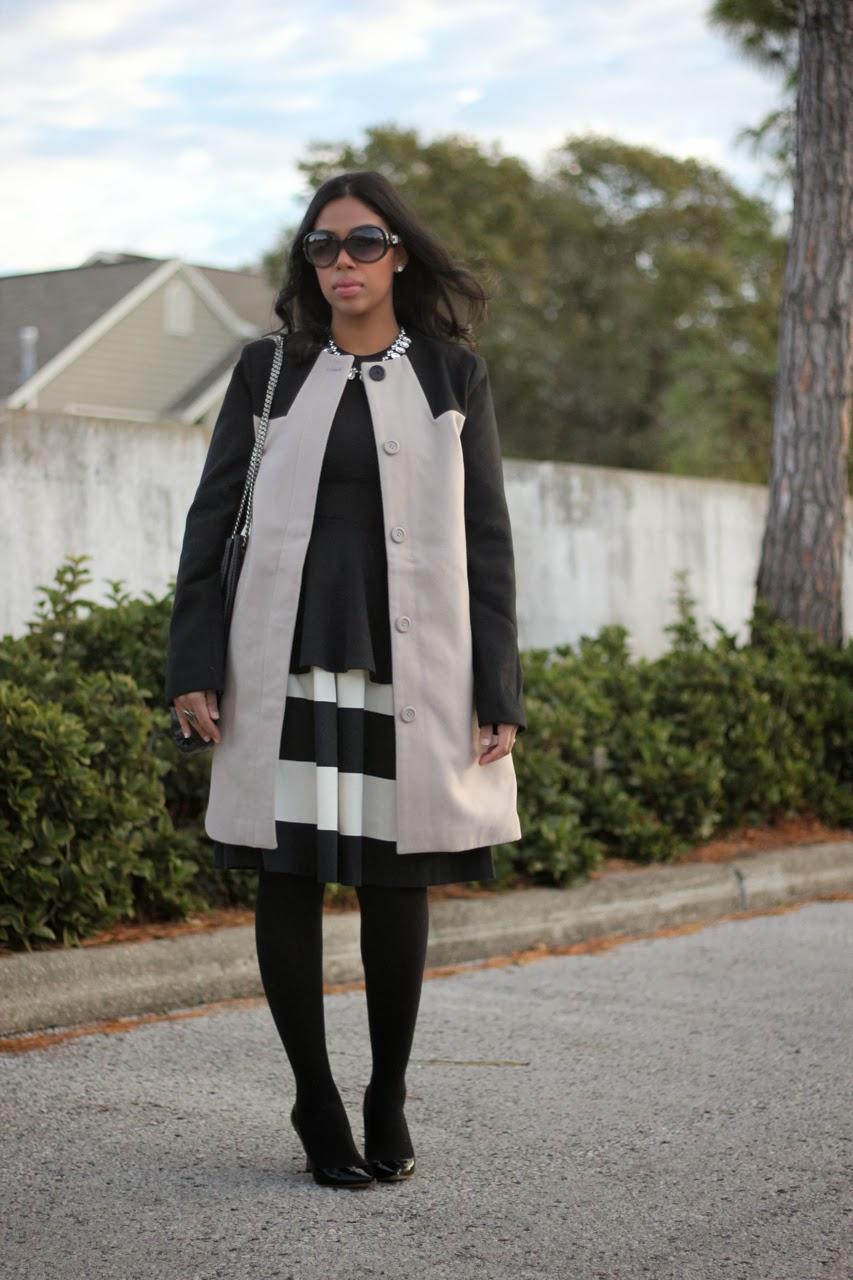 bb dakota hana colorblock coat jimmy choo abel chanel bag fendi sunglasses striped dress