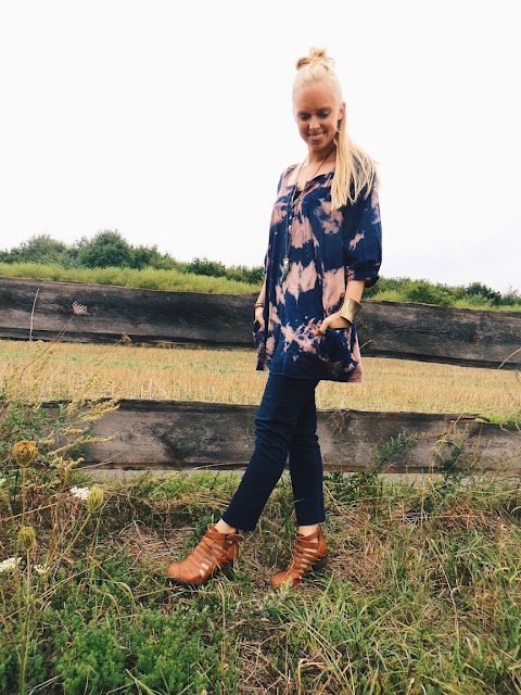 AbiDashery repurposed tie dye tunic, Emerson & Oliver Tibetan tusk necklace, DressLily gold ring, Deb booties, casual outfit, tie dye, outfit ideas, kinfolk magazine