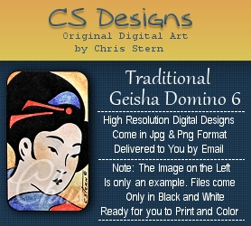 Traditional Asian Geisha Domino Digital Stamp designs