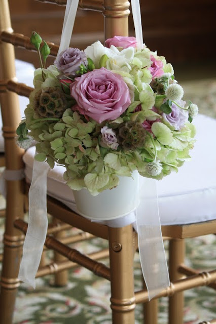 Hydrangea and rose pew buckets - Albany Country Club Wedding - Splendid Stems Floral Designs