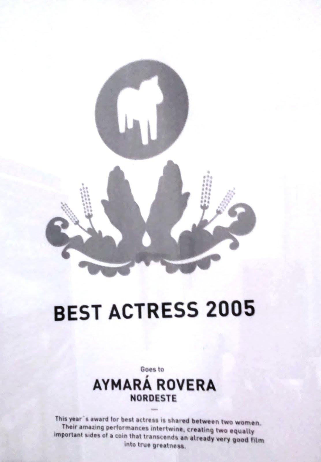 Premio mejor Actriz en Suecia-Estocolmo
