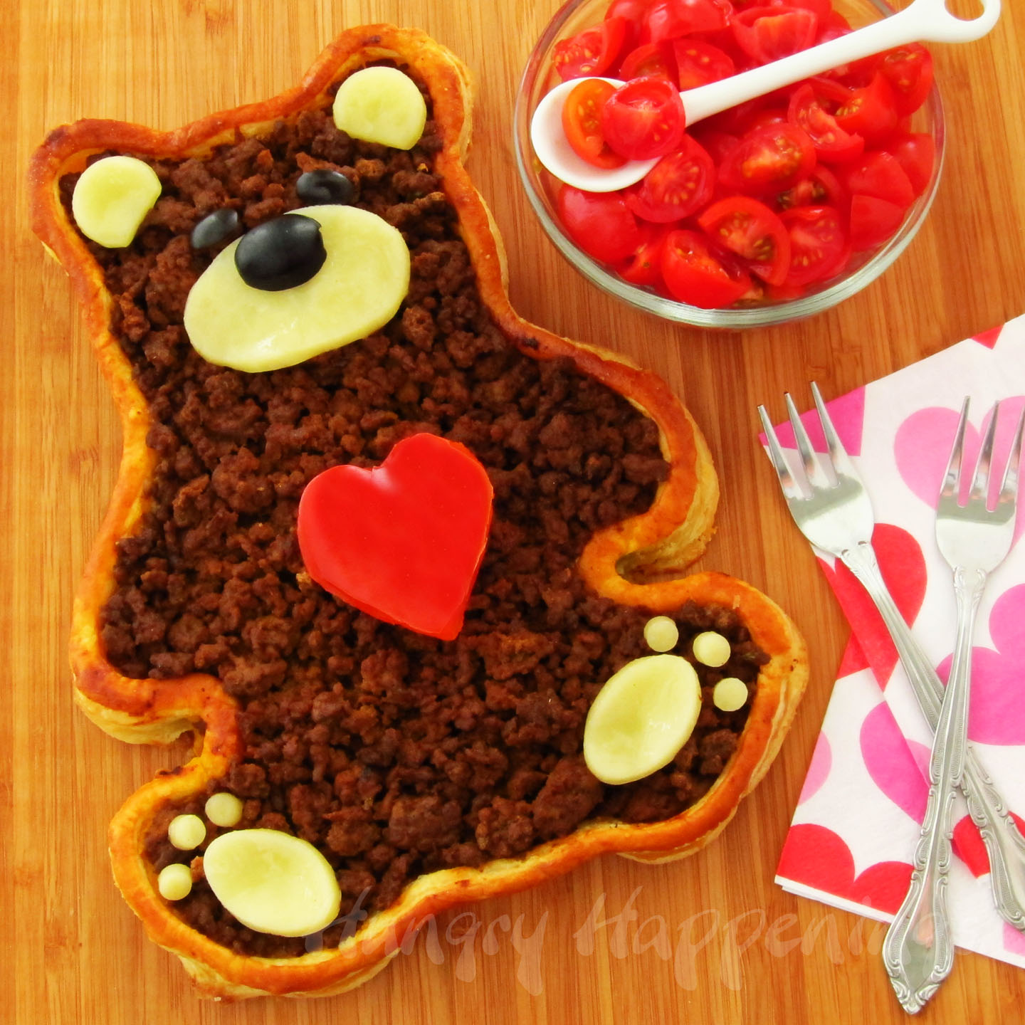 A valentine 39 s day dinner teddy bear taco tart hungry for Valentine dinner recipes kids