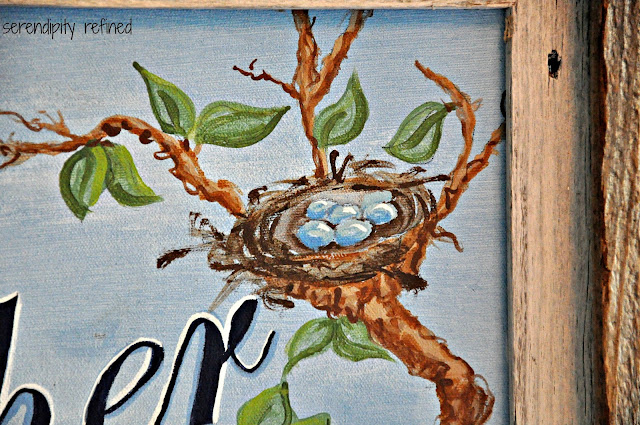 Custom Bat Mitzvah painting with reclaimed barn wood and pallet frame by Serendipity Refined