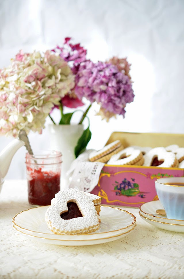 Valentines' Day Linzer Cookies with Raspberry Rose Jam